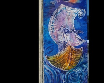 "Original Batik Wall hanging on Silk "" The Voyage """
