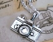 World Traveler Camera Necklace with an 24 Inch Chain and Swarovski Rhinestone - gift for her under 20 dollars