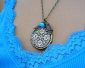 Brown Damask Glass Art Photo Pendant Owl Necklace