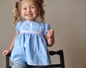 1940s Sky blue Cotton dress, size 6-12 months