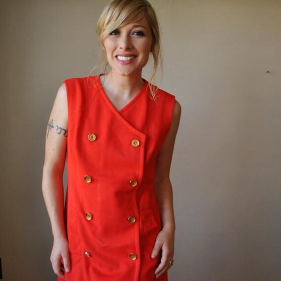 ON SALE......1970s Orange Button front Dress