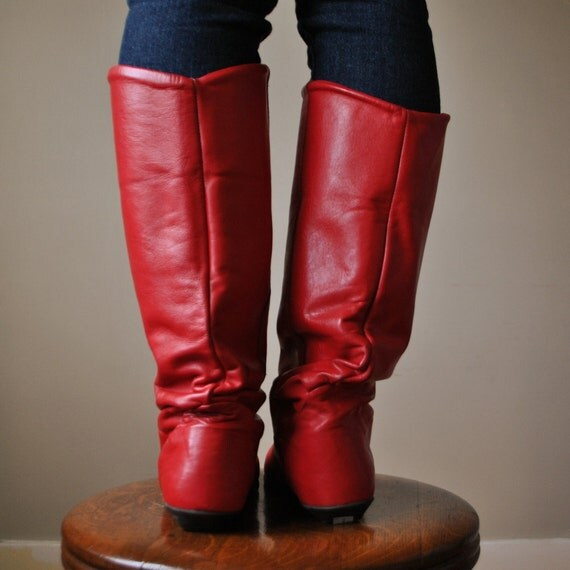 80s Red Leather Pirate Boots Size 6 1 2 7 By Salvagehouse