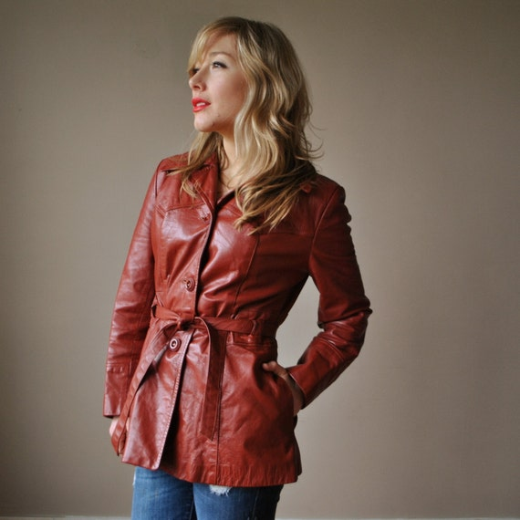 70s Auburn brown Leather Jacket