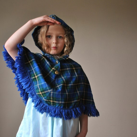 Bold blue Tartan plaid cape, size 3/5