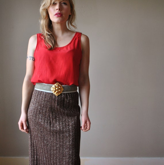 70s Chocolate Lurex Maxi skirt