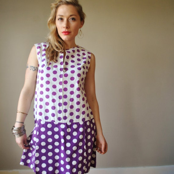 1960s Purple polka dot Dress, size small to medium