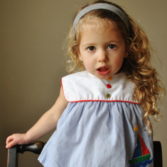 1980s Primary Colored Sailboat Dress, size 6-12 months