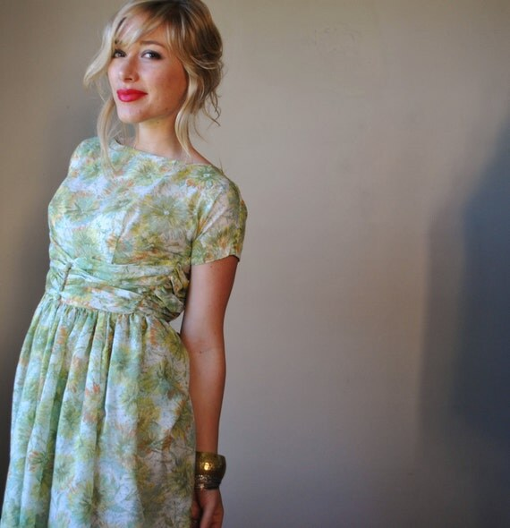 1950s Muted Watercolor Party dress
