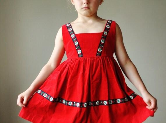 1960s Corduroy Dress, size 4/5