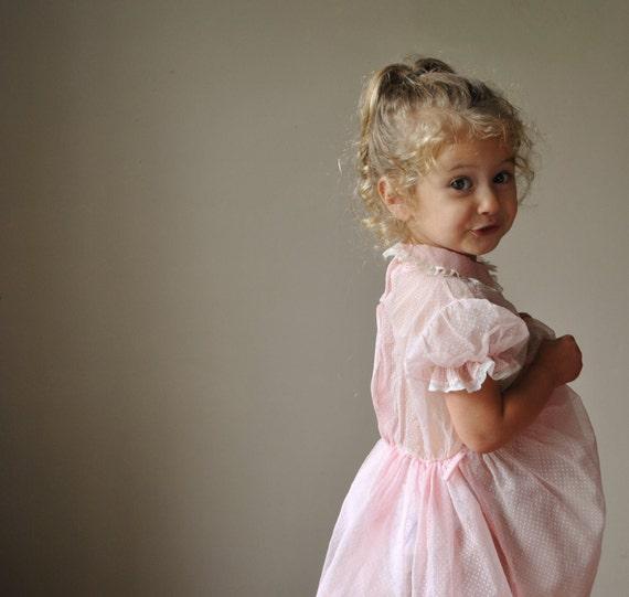 1950s Pale pink Dot Dress, size 2t