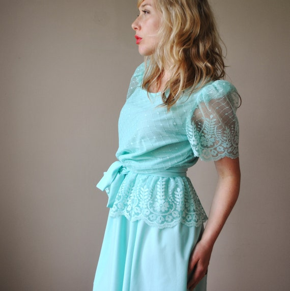 1970s Lace sleeve Party dress