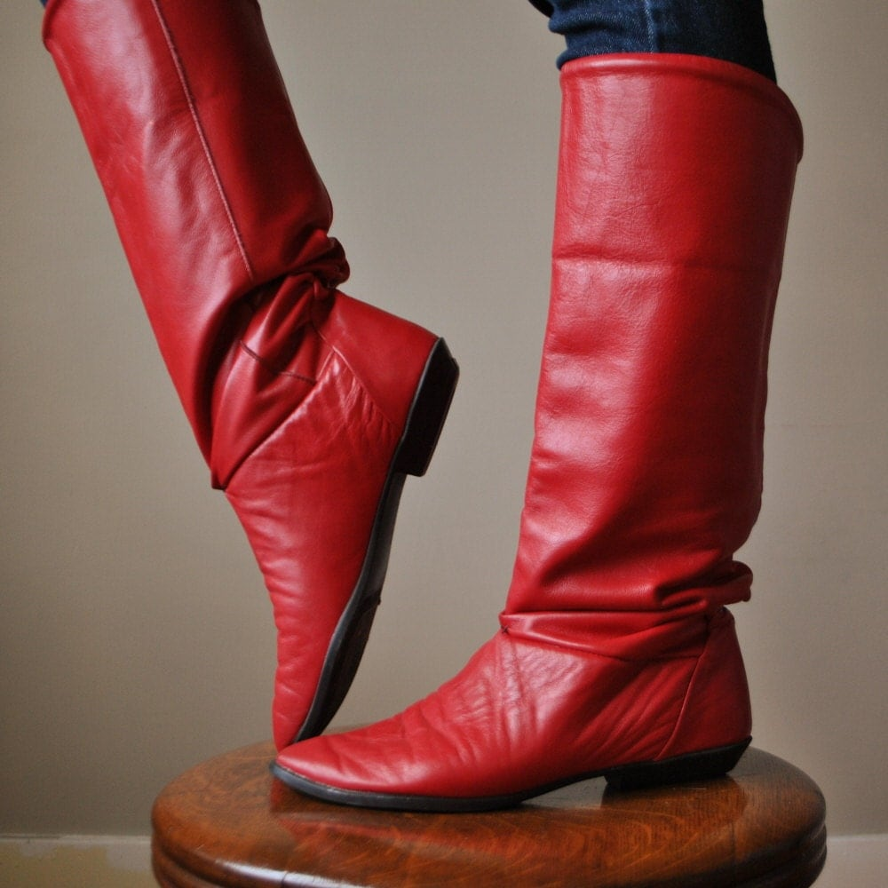 80s red leather pirate boots size 6 1 2 7 by salvagehouse on etsy