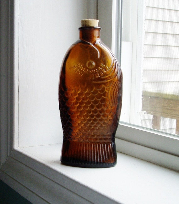 Vintage Glass Fish Bottle Brown Dr Fischs By Theoceanblueco