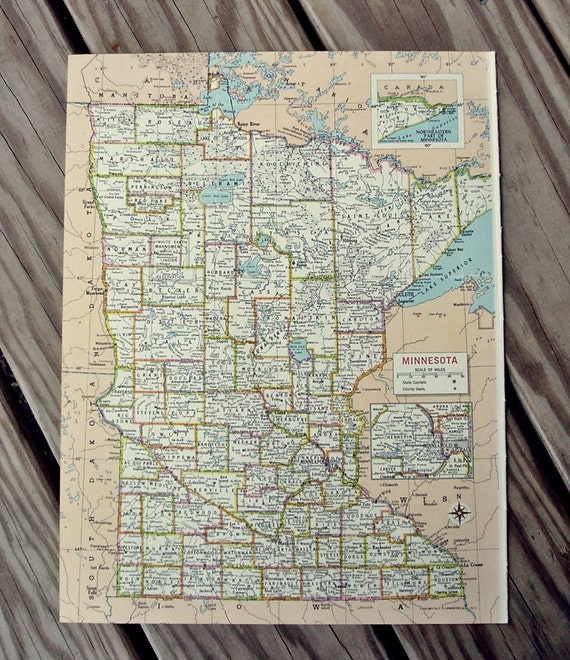 Minnesota Map Vintage Atlas 1960s Suitable for Framing United States