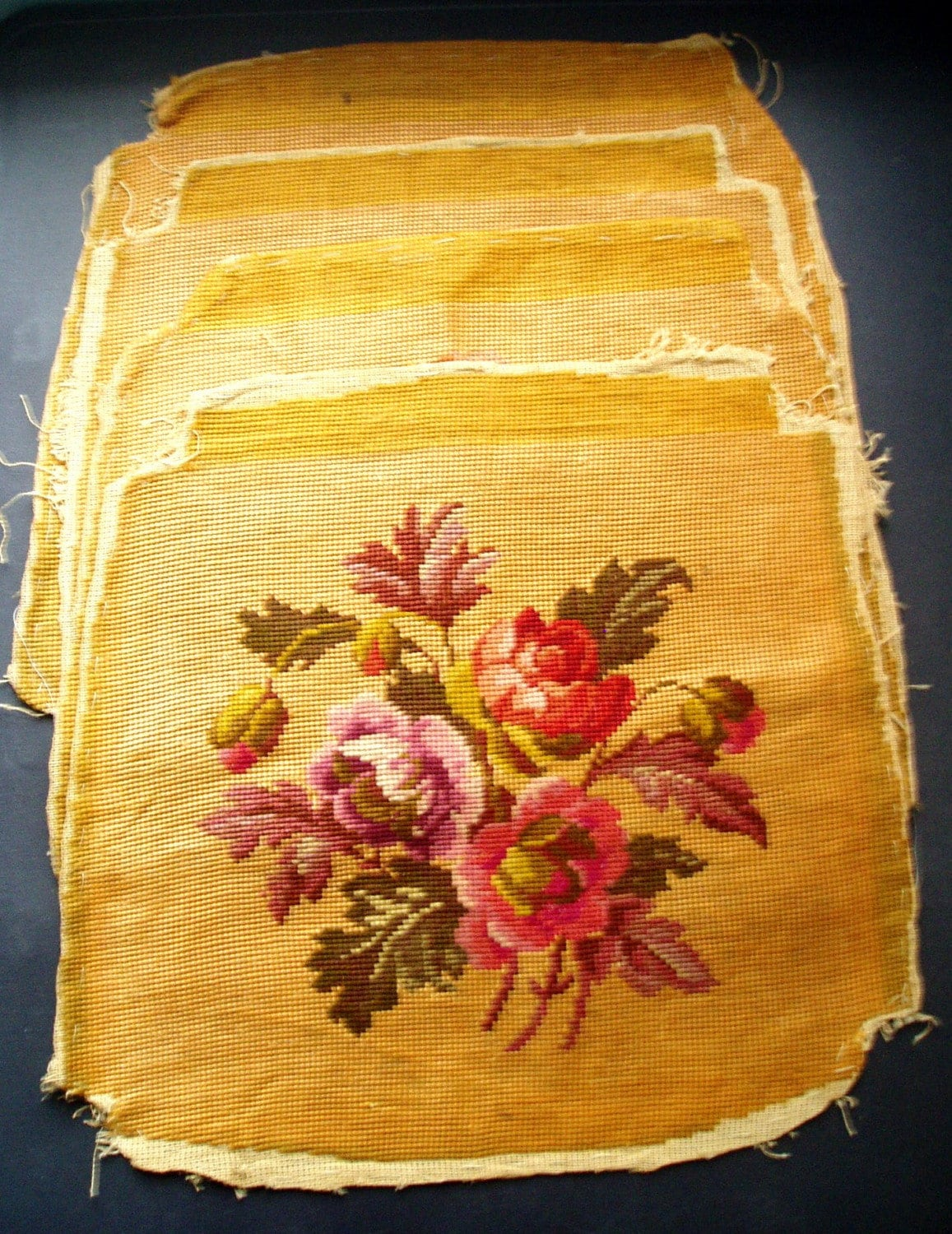Vintage Needlepoint Embroidery Chair Covers Set Of 4