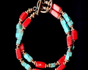 Copper Coral and Turquoise