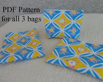 Reusable Snack Bag PDF Pattern for all three sizes  - Make your own snack bags today