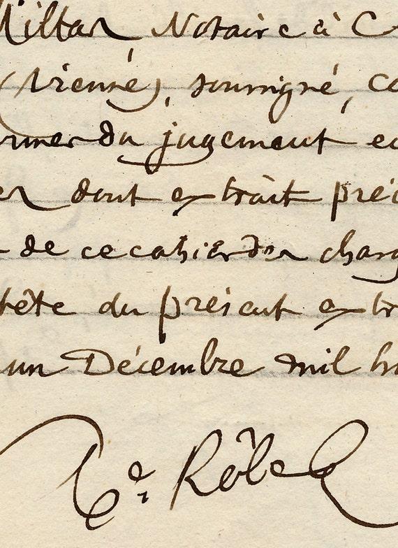 Antique French Sepia Script Document 45