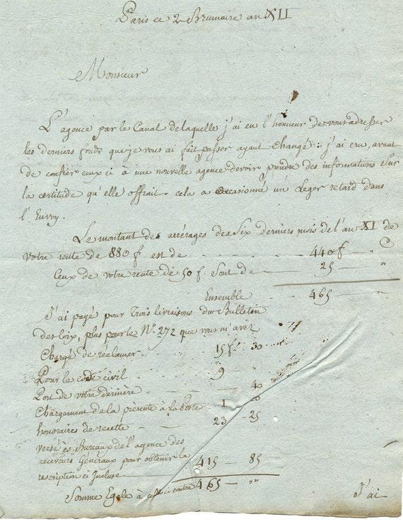 Antique Paris French Script Letter 9