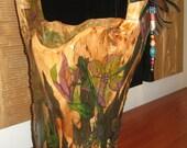 SALE  Tall Hand Painted Burl Wood Basket