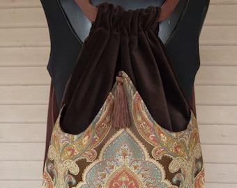 Brown Medallion Backpack Boho Backpack  Renaissance Backpack  Brown Book Bag  Backpacks  Back Pack