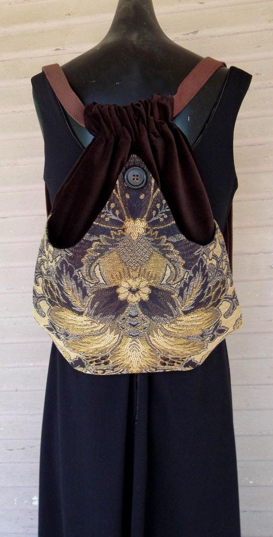 Tapestry Backpack  Brown Book Bag  Backpacks  Back Pack