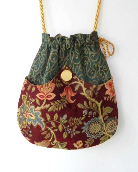 Green Tapestry Pocket Boho Bag  Drawstring Bag   Bohemian Bag  Crossbody Purse