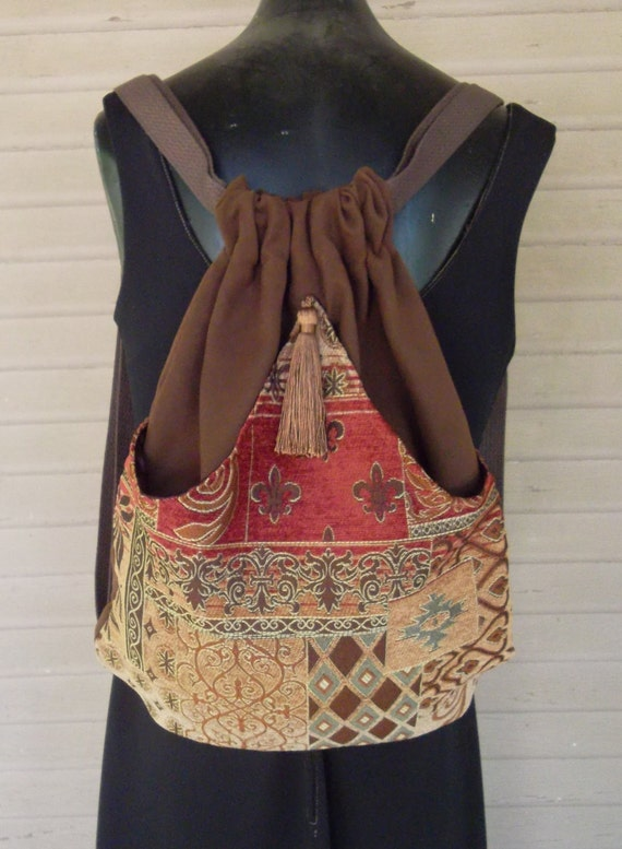 Brown Backpack Tan and Rust Chenille Boho Backpack  Renaissance Backpack  Brown Book Bag  Backpacks  Back Pack