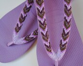Hand beaded Havaianas - Purple snakeskin 37-38