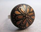 copper flower handpainted ring