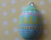 aquamarine Easter egg pendant - adjustable