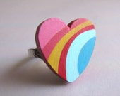 colorful arch - handpainted adjustable ring