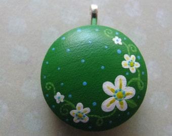 handpainted flower pendant in green
