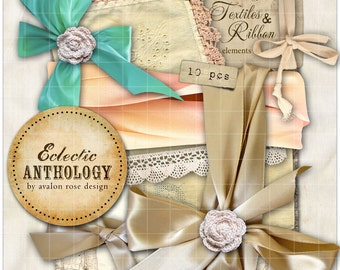 INSTANT DOWNLOAD - Vintage Cottage Ribbons & Lace Graphics, Print, Web, Scrapbook, Design, Commercial Use OK!