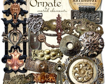 INSTANT DOWNLOAD - Ornate Metal Elements Digital Graphics, Print, Web, Scrapbook, Design, Personal and Commercial Use