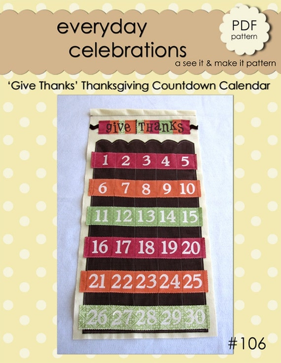 Thanksgiving Countdown Calendar - PDF Pattern