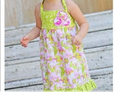 Noodles and Milk Sewing Pattern -Tutorial PDF DIY-Ensley Halter Dress-Sizes 2t to 5t