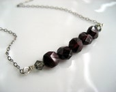 Garnet Banner Necklace / Red Garnet Gemstones Black Oxidized Sterling Silver Chain Crystals / One of a Kind Handmade Jewelry