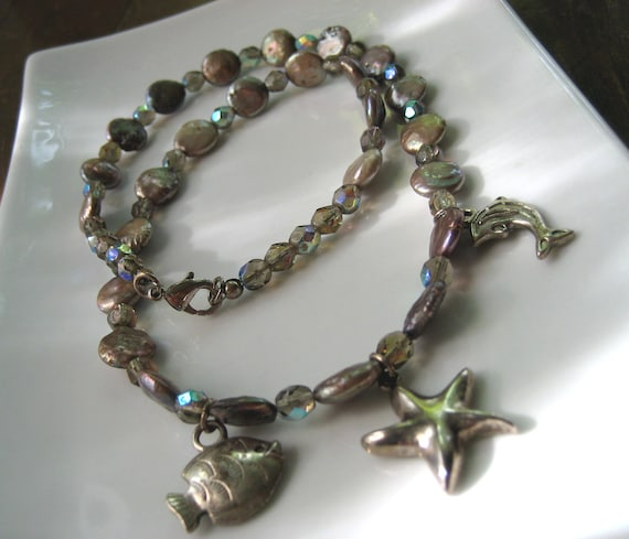 SALE Silver Pearl Necklace / Starfish Dolphin & Fish Ocean Charms / Freshwater Pearls / One of a Kind