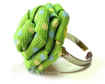 Polka Dot Green Rose Ring