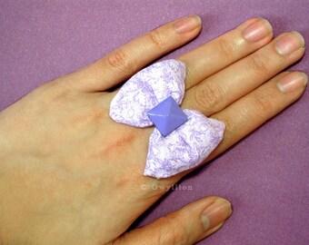 Sweet Puffy Purple Bow Ring