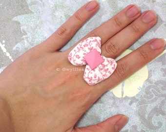 Sweet Blossom Puffy White Bow Ring