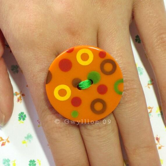 Orange Polka Dot Button Ring