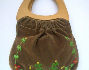 Vintage Brown Suede Cloth Purse/ Bag