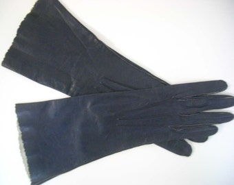 Vintage Alexette Kidskin Navy Blue Leather Gloves