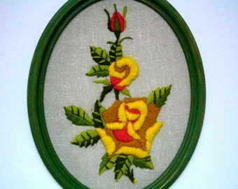 Vintage Embroidered Yellow Rose