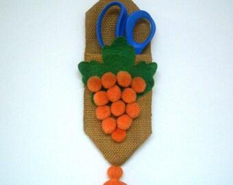Vintage Scissors Holder with Orange Grapes