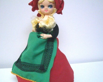 Vintage Big Eyed Bradley Doll with Red and Green Costume