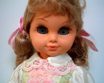 Vintage Musical Moving Doll with Blonde Hair