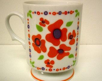 Vintage Pedestal Mug with Orange Flowers